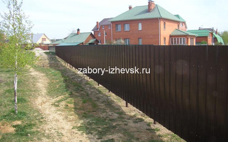 металлический забор из профлиста цена